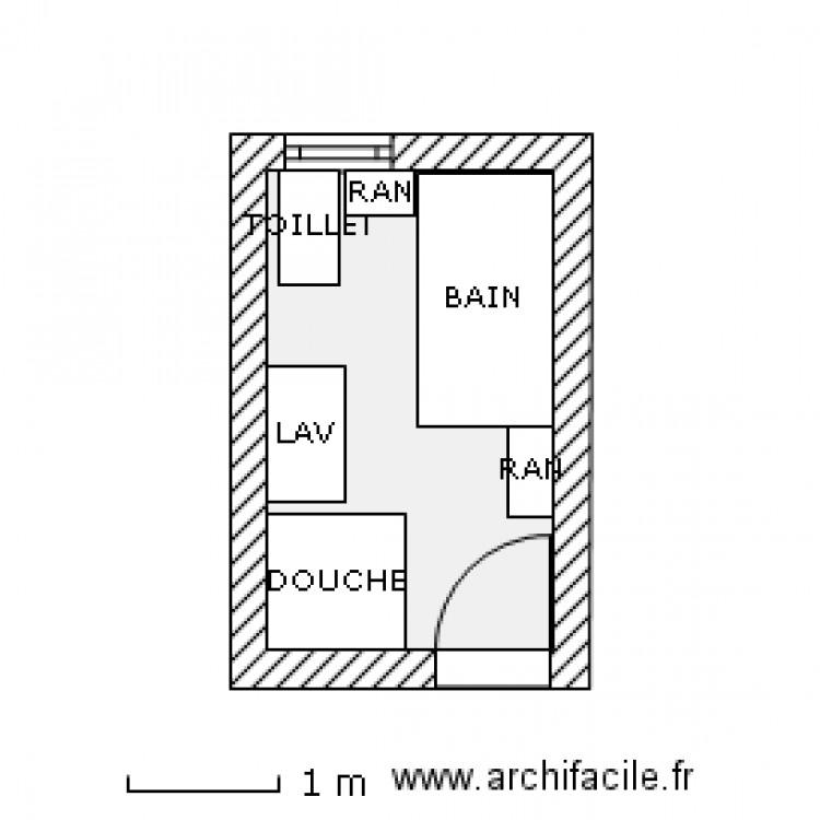 Salle de bain 7 x 11 2 plan 1 pi ce 6 m2 dessin par for Plan salle de bains m
