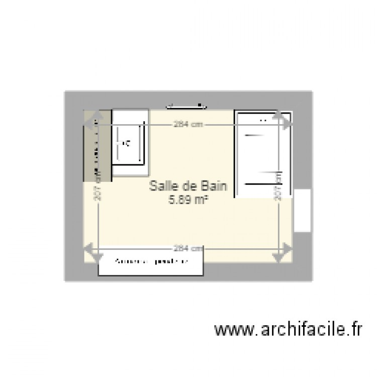 salle de bain plan 1 pi ce 6 m2 dessin par rivoironmarie. Black Bedroom Furniture Sets. Home Design Ideas