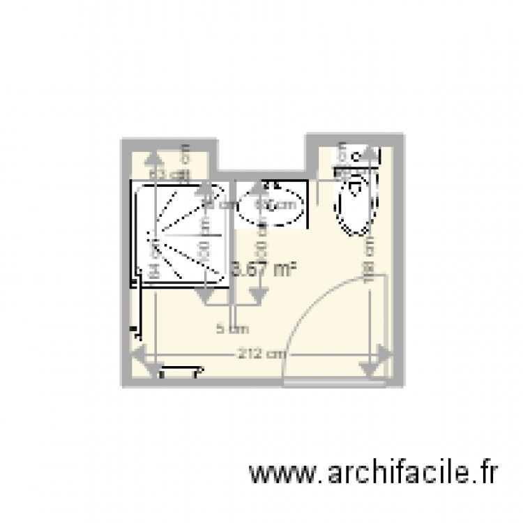 Salle de bain j moretti plan 1 pi ce 4 m2 dessin par for Salle de bain 4 m2