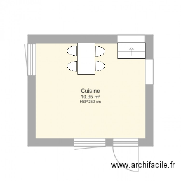 cuisine plan 1 pi ce 10 m2 dessin par mariannecolet. Black Bedroom Furniture Sets. Home Design Ideas
