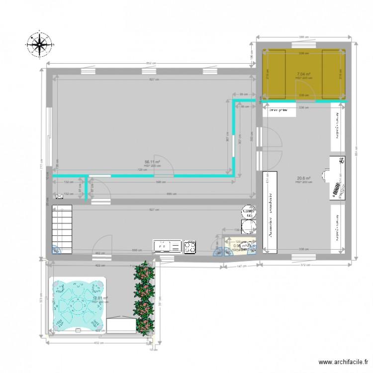 rez de chauss am nag plan 5 pi ces 98 m2 dessin par tetrelmatthieu220187. Black Bedroom Furniture Sets. Home Design Ideas