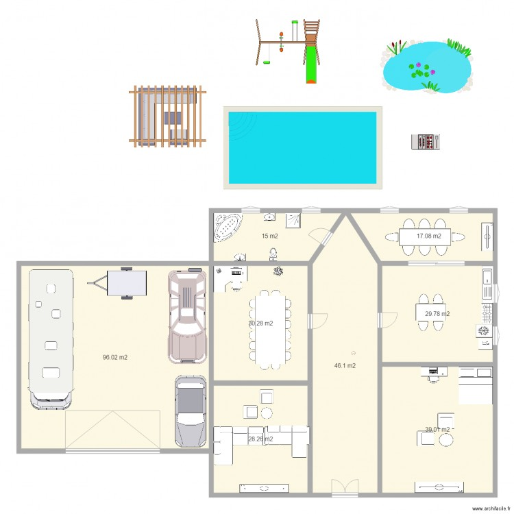 la maison plan 8 pieces 302 m2 dessine par sam1910 With charming dessiner plan de maison 8 balancoire toboggan