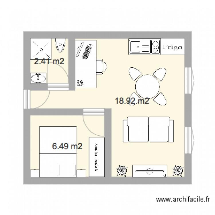 Chambre standard 30m2 plan 3 pi ces 28 m2 dessin par for Plan de loft moderne