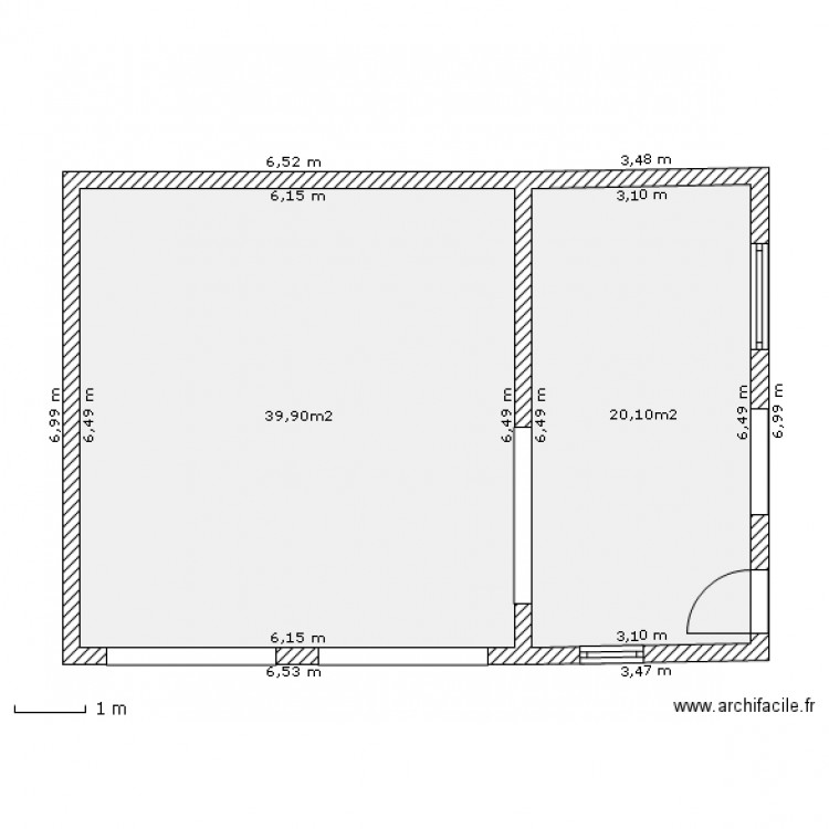 Garage independant plan 2 pi ces 60 m2 dessin par for Plan de garage independant