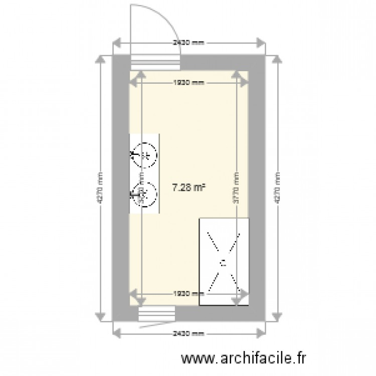 salle de bain plan 1 pi ce 7 m2 dessin par celinedelaporte. Black Bedroom Furniture Sets. Home Design Ideas