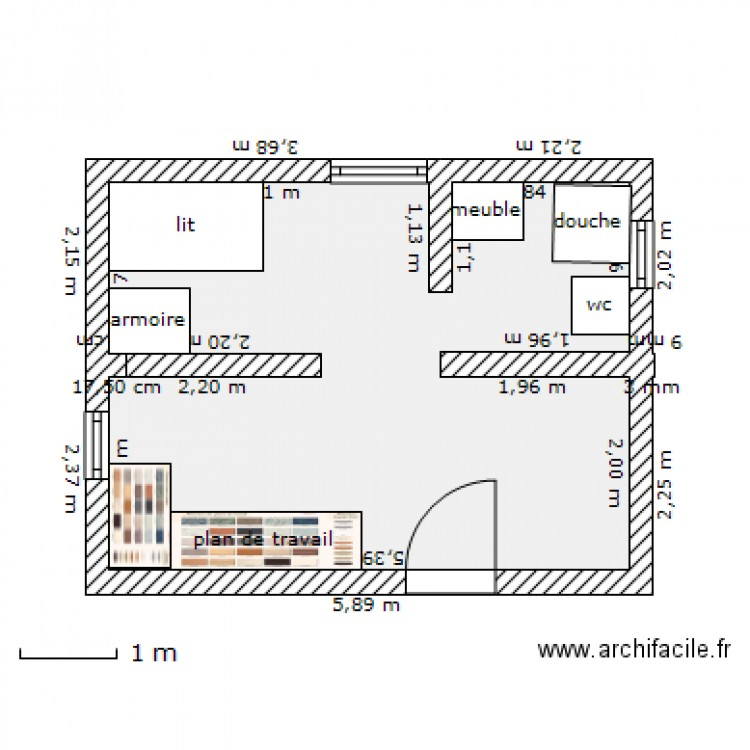 Studio de 20m2 plan 1 pi ce 20 m2 dessin par papou972 for Suite parentale 30m2