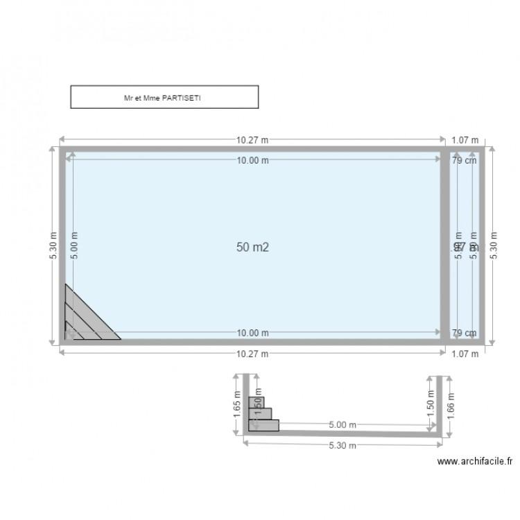 plan en coupe piscine plan 2 pi ces 54 m2 dessin par sokoa. Black Bedroom Furniture Sets. Home Design Ideas