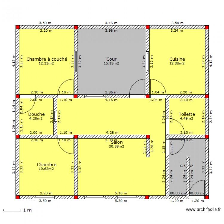 Maison de 110m plan 8 pi ces 96 m2 dessin par zouinemed for Taille moyenne maison