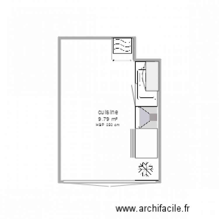 cuisine plan 1 pi ce 10 m2 dessin par walx. Black Bedroom Furniture Sets. Home Design Ideas