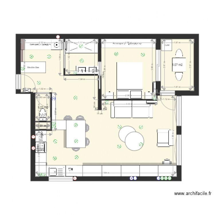 appartement me roos mur porteur plan 10 pi ces 118 m2 dessin par archifacileflo. Black Bedroom Furniture Sets. Home Design Ideas