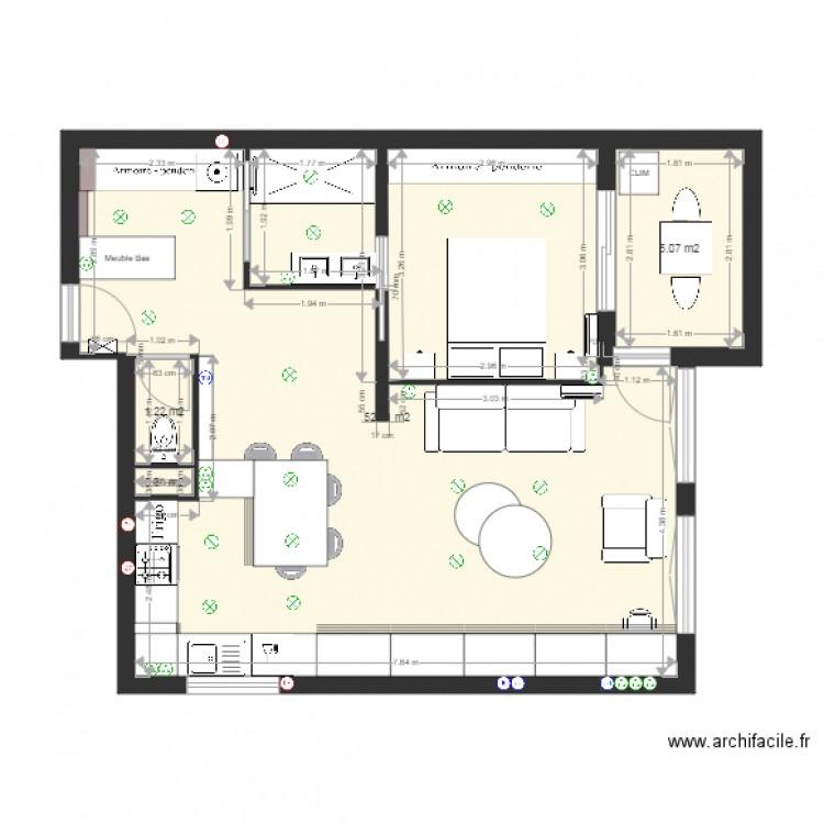 Appartement me roos mur porteur plan 10 pi ces 118 m2 dessin par archifacileflo - Mur porteur appartement ...