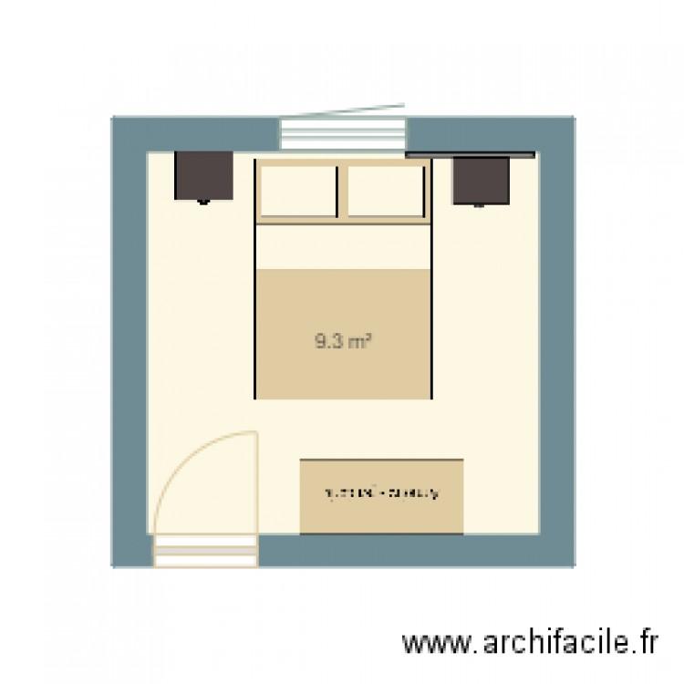 Chambre 1 plan 1 pi ce 9 m2 dessin par mathi mathi for Chambre one piece