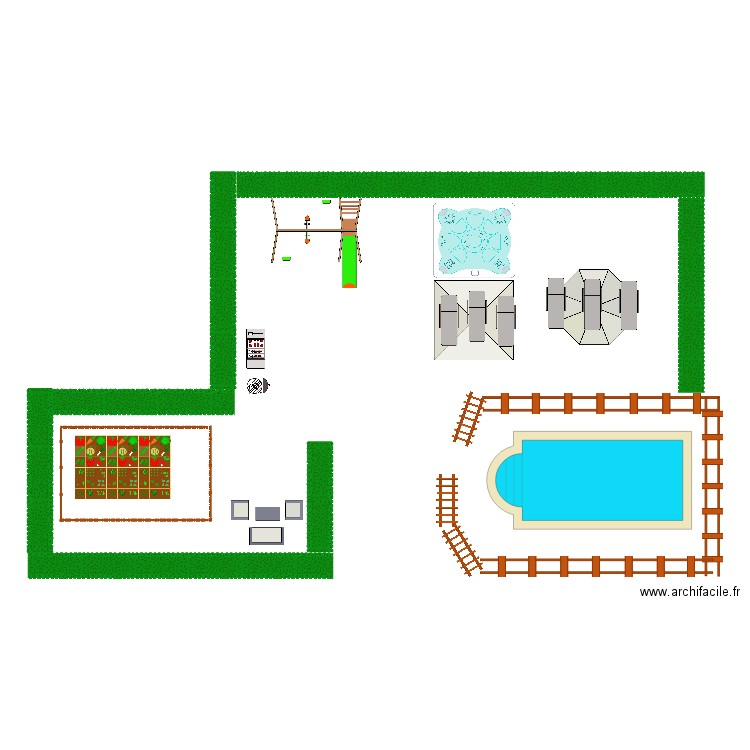 jardin piscine balencoir potager barbecue plancha jacousi - Plan ...