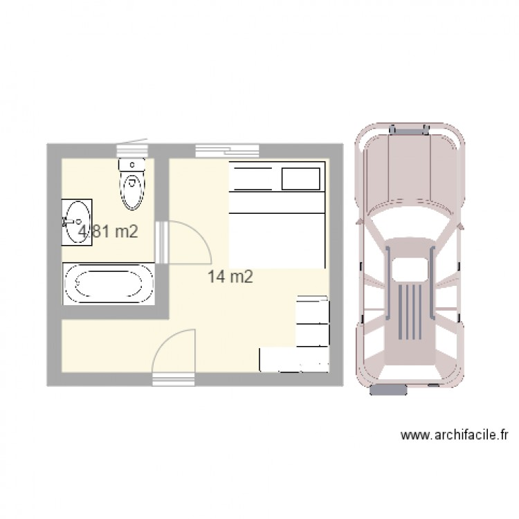 plan de maison plan 2 pi ces 19 m2 dessin par jamesor delocean. Black Bedroom Furniture Sets. Home Design Ideas