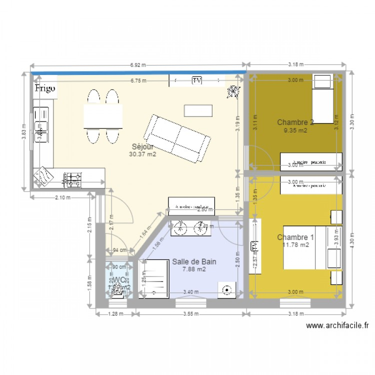 projet maison plan 5 pi ces 60 m2 dessin par joonathan. Black Bedroom Furniture Sets. Home Design Ideas