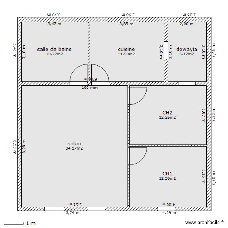 maison maroc plan 6 pi ces 88 m2 dessin par marokkino. Black Bedroom Furniture Sets. Home Design Ideas