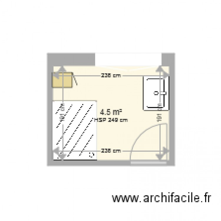 salle de bains plan 1 pi ce 5 m2 dessin par arrow76. Black Bedroom Furniture Sets. Home Design Ideas