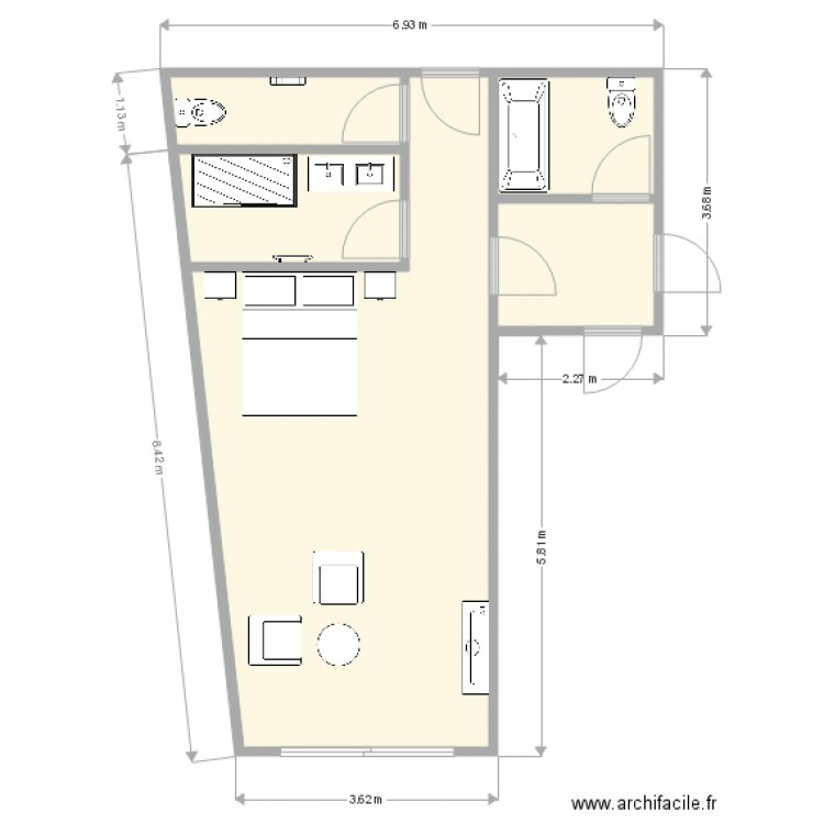 Plan agrandissement chambre jos phine plan 4 pi ces 42 for Agrandissement chambre