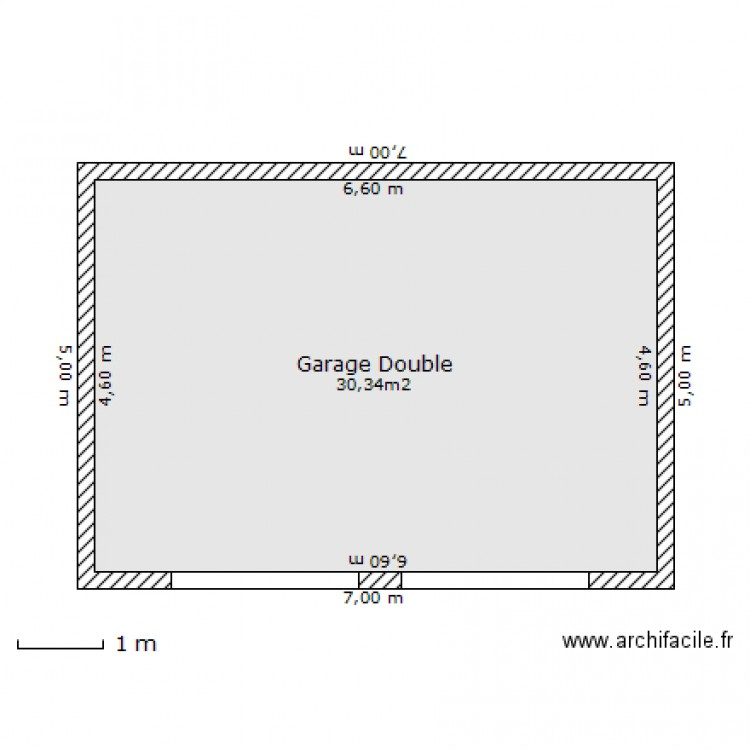 Garage double 30 34 m plan 1 pi ce 30 m2 dessin par cafn for Plan de garage independant