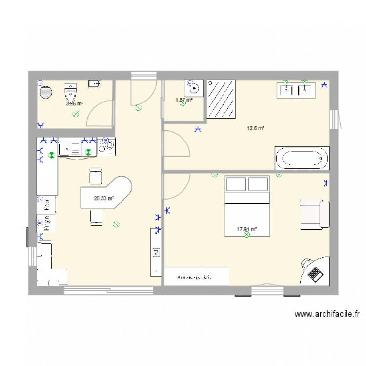 Plan de maison plan 5 pi ces 56 m2 dessin par ismael2002 Plan de maison 5 pieces