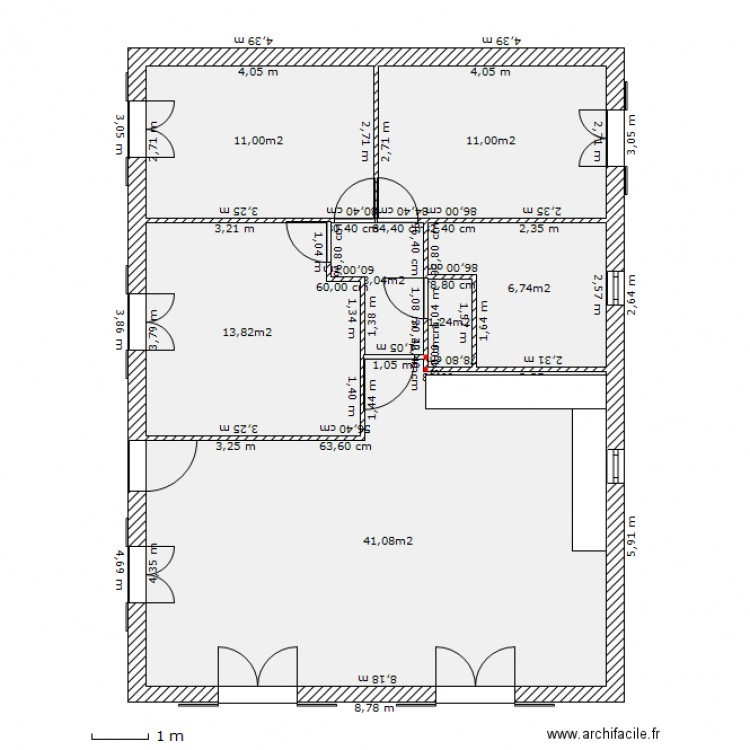 Maison Sandrine Rectangle Plan 7 Pi Ces 88 M2 Dessin
