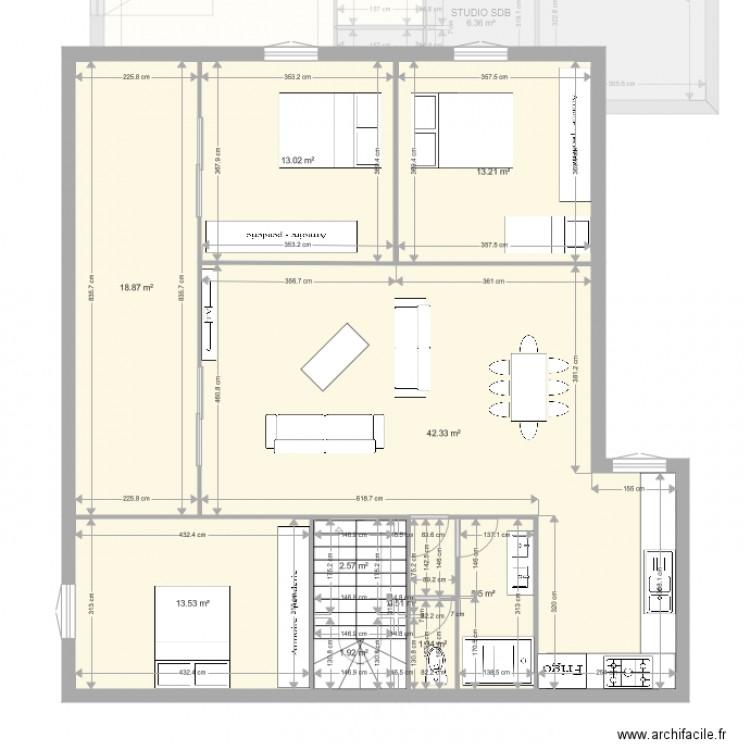 Maison algerie plan 16 pi ces 228 m2 dessin par carretnouri for Plan de maison algerie 200m2