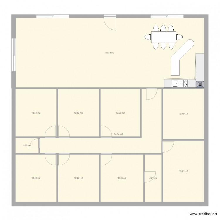 Maison 6 chambres plan 12 pi ces 178 m2 dessin par bill33 for Plan maison 6 chambres