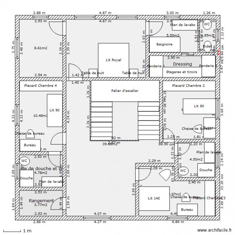 Maison de flore etage avec meubles et escalier plan 12 pi ces 121 m2 dess - Escalier milieu de piece ...