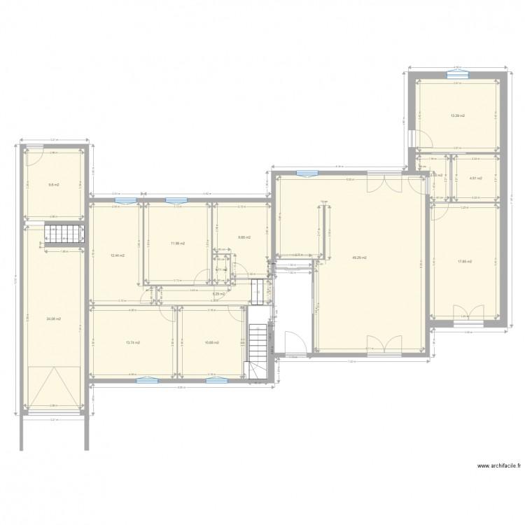 Plan maison garage extention plan 14 pi ces 185 m2 dessin par - Plan de maison 2 pieces ...