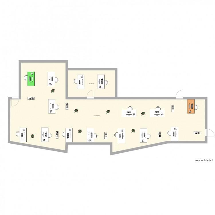 Bureau plan 2 pi ces 147 m2 dessin par geraldhumanis for Nombre de m2 par personne bureau