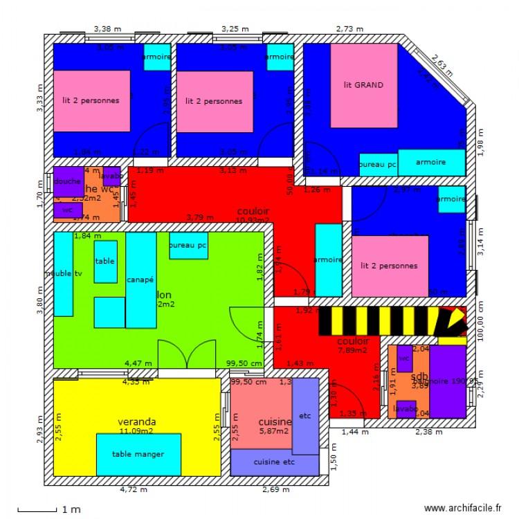 F5 plein pied plan 10 pi ces 90 m2 dessin par mokeddem for Plan de maison f5
