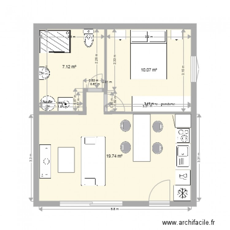 Appartement 40 m2 plan 3 pi ces 37 m2 dessin par manue33260 for Plan de maison zone llc