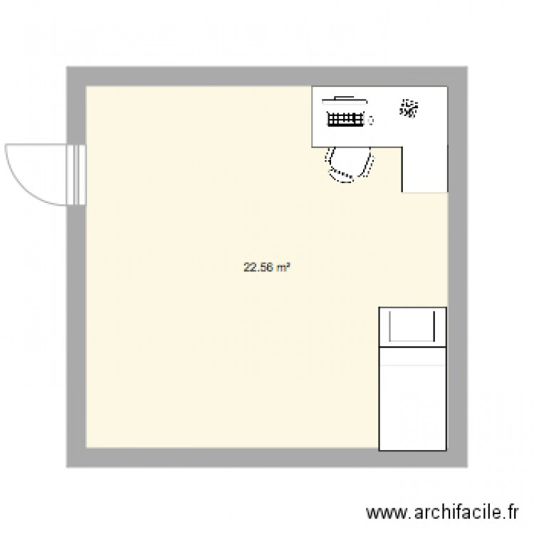 Mahaut4e esparnol chambre plan 1 pi ce 23 m2 dessin par for Chambre one piece