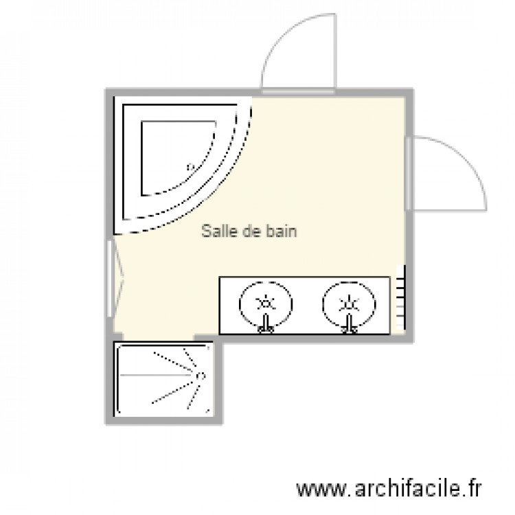 salle de bain actuelle plan 1 pi ce 9 m2 dessin par ergotb. Black Bedroom Furniture Sets. Home Design Ideas