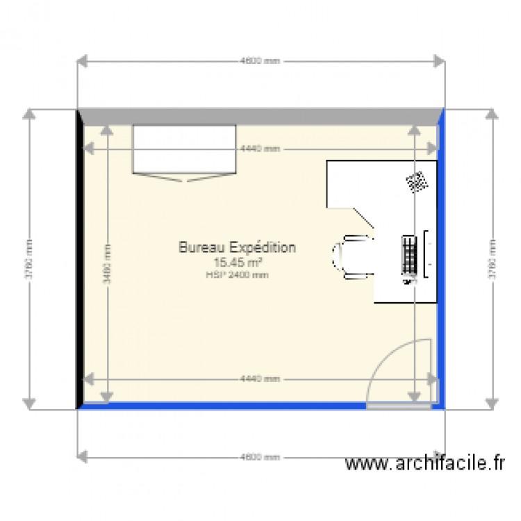 Bureau exp dition plan 1 pi ce 15 m2 dessin par for Nombre de m2 par personne bureau