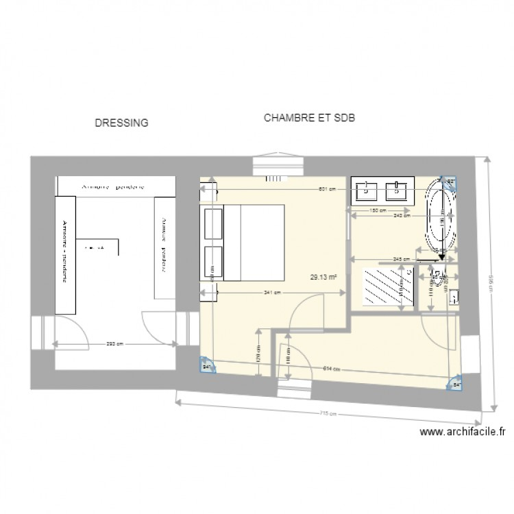 Dressing chambre sdb plan 1 pi ce 29 m2 dessin par drins for Chambre sdb dressing
