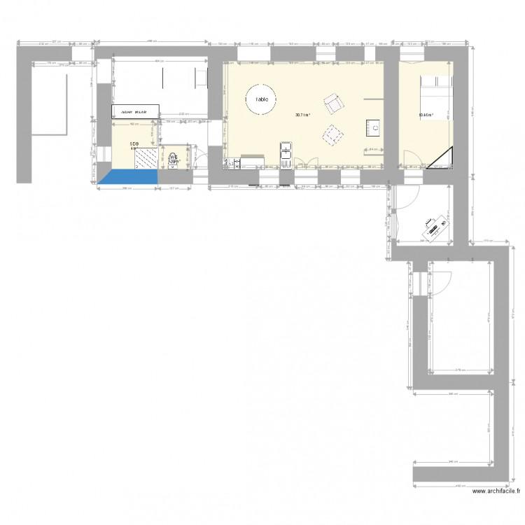 R novation maison plan 4 pi ces 47 m2 dessin par - Plan renovation maison ...