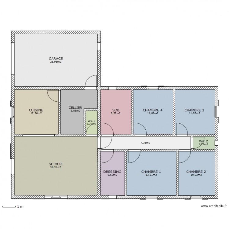 Plan maison 160 m2 plain pied plan maison jardin bois - Maison jardin house plan villeurbanne ...