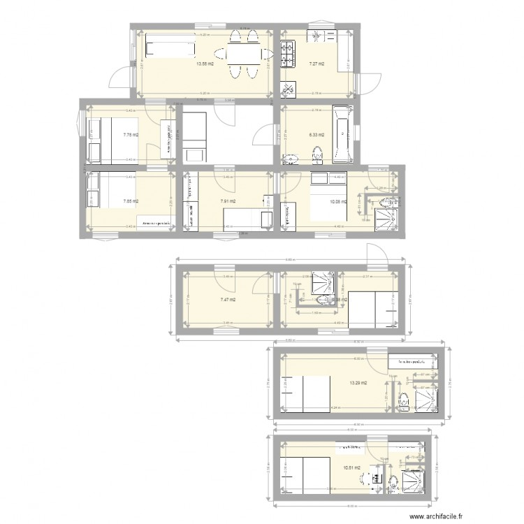 Maison 2 chambres plan 11 pi ces 102 m2 dessin par pytepaul - Plan de maison 2 pieces ...