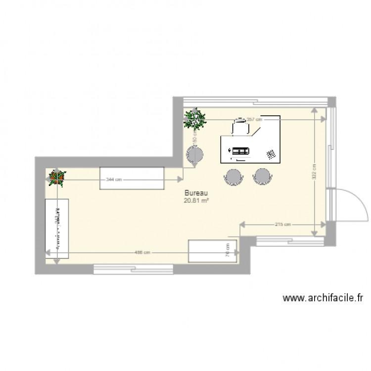 Bureau plan 1 pi ce 21 m2 dessin par topmoss for Nombre de m2 par personne bureau