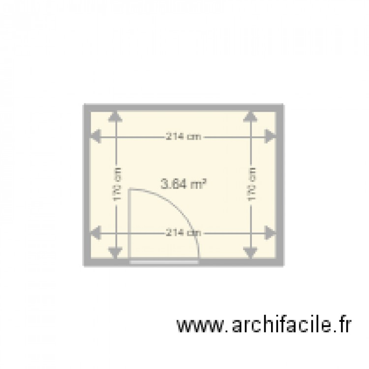 Salle de bain 2 plan 1 pi ce 4 m2 dessin par maison for Salle de bain 4 m2