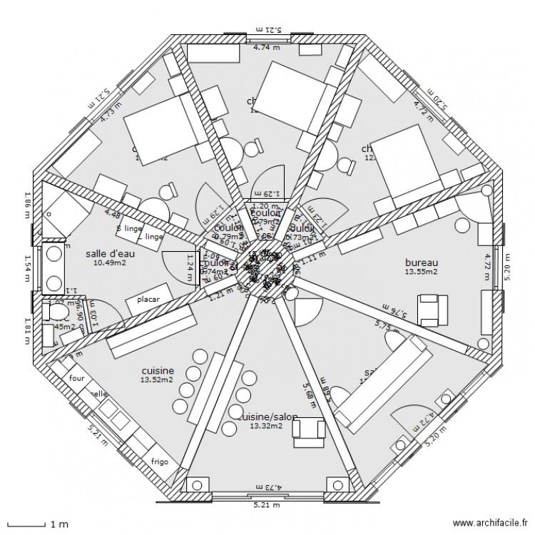 maison ronde plan 21 pi ces 107 m2 dessin par tymoanais. Black Bedroom Furniture Sets. Home Design Ideas