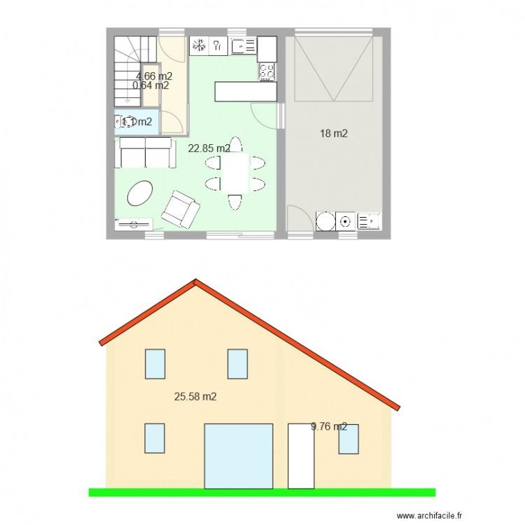 rdc maison 60m2 plan 7 pi ces 83 m2 dessin par lucien baurjeat. Black Bedroom Furniture Sets. Home Design Ideas
