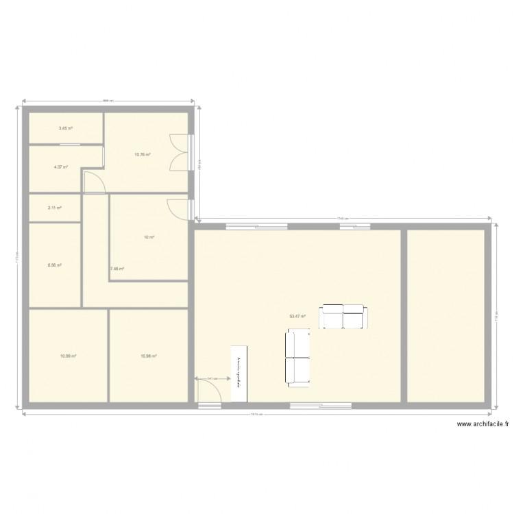 maison en l plan 11 pi ces 140 m2 dessin par davmag. Black Bedroom Furniture Sets. Home Design Ideas