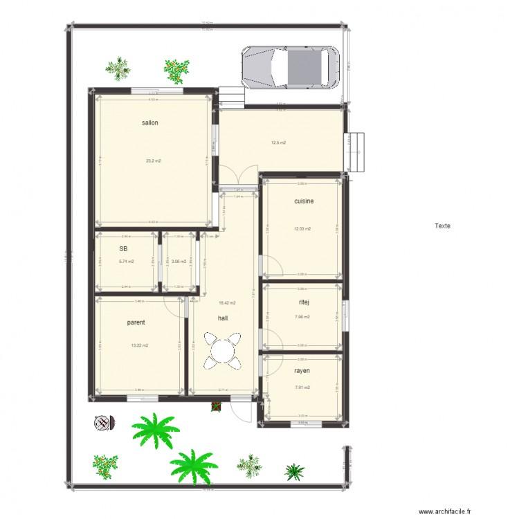 Maison modifier plan 9 pi ces 104 m2 dessin par hamouda for Modifier plan maison