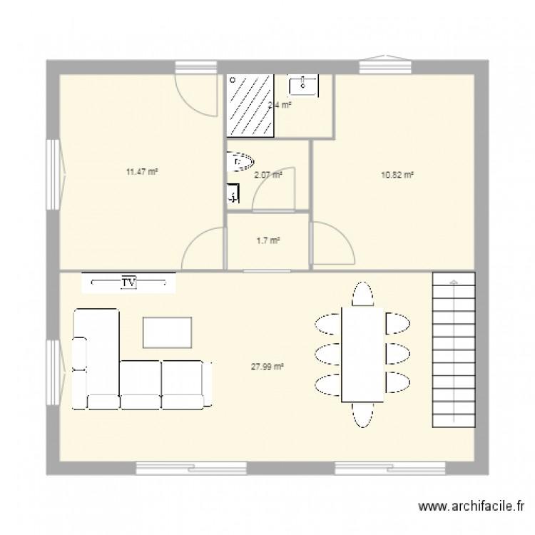 plan maison rez de chauss e plan 6 pi ces 56 m2 dessin par ielenia9. Black Bedroom Furniture Sets. Home Design Ideas