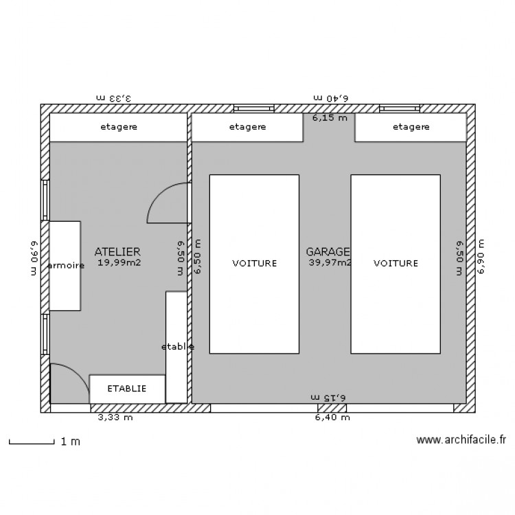 Garage double atelier plan 2 pi ces 60 m2 dessin par for Plan de garage