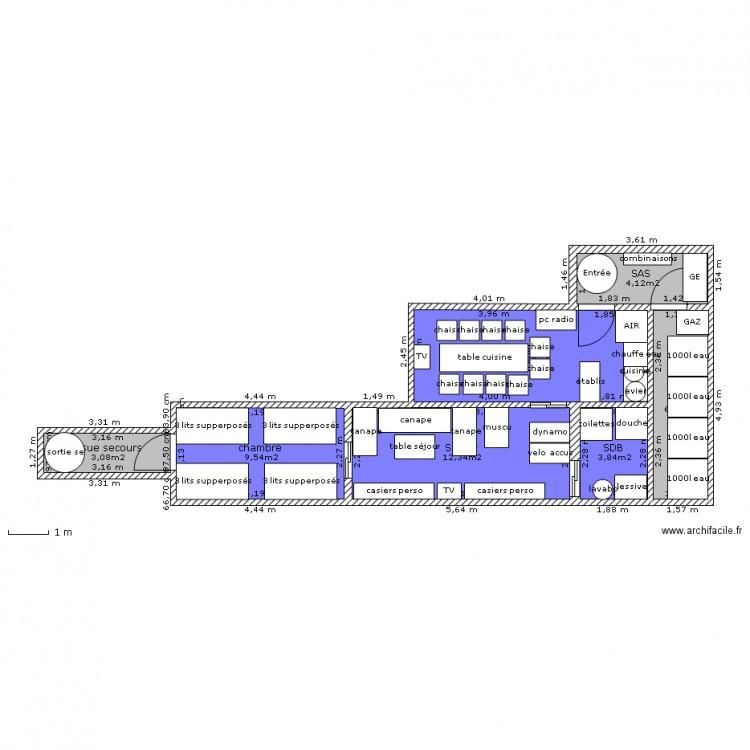 Abri anti atomique 12 pers plan 7 pi ces 53 m2 dessin par gandalflelibre - Construction abri anti atomique ...
