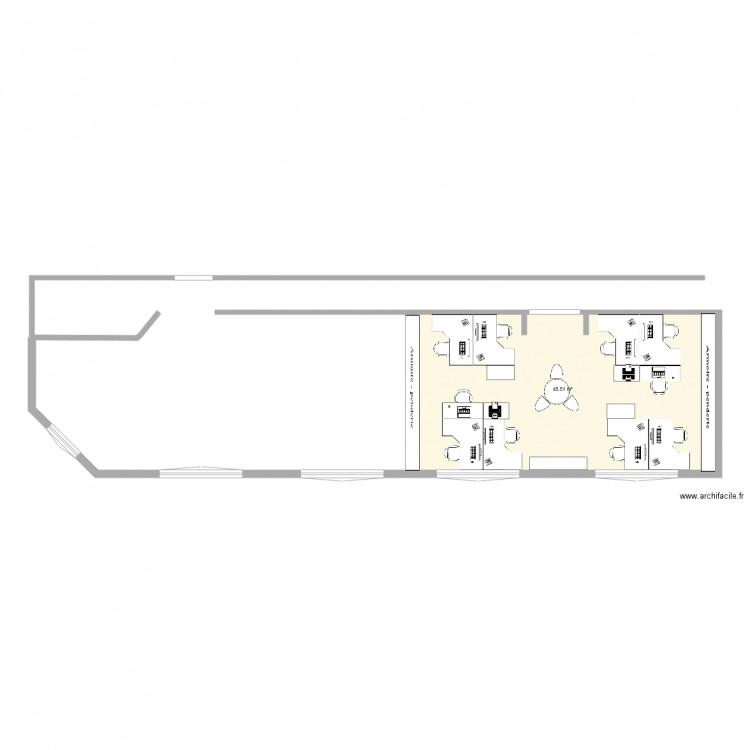 Bureau box 1 plan 1 pi ce 46 m2 dessin par jjsolano for Nombre de m2 par personne bureau