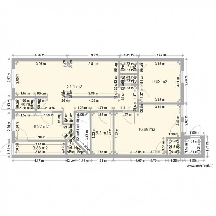 Maison existante 5 plan 11 pi ces 81 m2 dessin par for Plan de maison 5 pieces